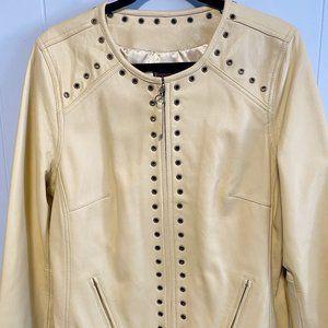 Bradley Bayou Leather Moto Buttercream Short Coat